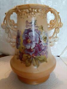 Art Nouveau Pottery Austrian Vase with Double Handles and Purple Flowers