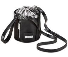 NEW! VERSACE PARFUM Black Bag Small Bucket White Greca Pattern Medusa w/dust Bag