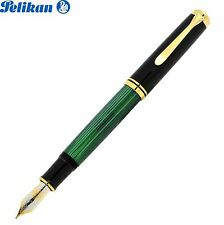 PELIKAN Souveran Plunger Fountain Pen M 1000 Black/Green 18K Gold NIB (M)-987594