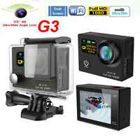 "2.0"" LCD Dual Screen HD Wifi Sport Action Camera 1080P 12MP 170° Cam G3 - Black"