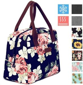 Lunch Bag 7.5L Portable Flower Thermal Cooler Tote Lunch Box Women Girls Navy