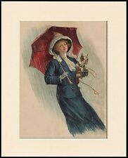 BOSTON TERRIER AND PRETTY LADY IN THE RAIN DOG PRINT MOUNTED READY TO FRAME
