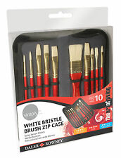 Daler Rowney White Bristle Brush Zip Case - 10 x Art Paint Brushes & Wallet
