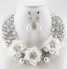 Adjustable Three Flower Necklace with Faux White Pearls and Matching Earrings