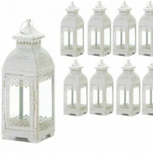 Lot of 10 LACE 13in Distressed White Lantern Candleholder Wedding centerpieces