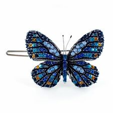 USA BUTTERFLY Hair Clip Hairpin use Swarovski Crystal Elegant Unique Blue B-2