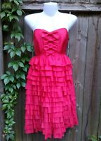 Vintage Betsey Johnson Evening Dress 100% Silk Layered Strapless Red Bows Size 6