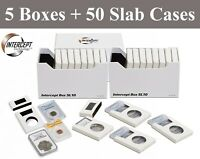 5 Lighthouse Intercept Shield Double Protection Coin Slab Boxes + 50 Slab Cases