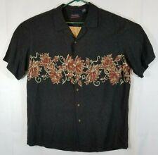 7019506a OceanPacific Men XL Hawaiian Shirt Short Sleeve Floral 100%Viscose&Rayon  Black/G