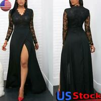 Sexy Women Lace Evening Party Maxi Dress Ladies V Neck Long Sleeve Split Gown US