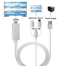 2018 Lightning/Micro USB/Type-C to HDMI Cable 1080 HDTV Adapter for iPhone i Pad