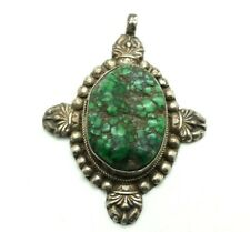 Estate Antique Tibet Oval Turquoise Sterling Silver 925 Pendant 29g POE236