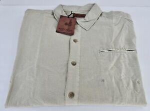Vertical Robert Comstock Men's Button Front Linen/Cotton Shirt 2XLT Cream