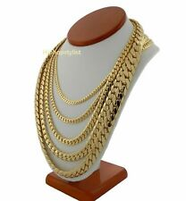 Men's 14k Miami Cuban Link Chain Necklace Bracelet 5mm to 12mm Gold Plated