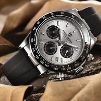 40mm Pagani Design chronograph gray dial sapphire steel case quartz mens watch