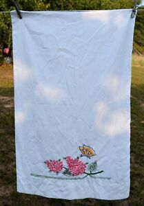 """Hand Embroidered Floral Cotton Pillowcase 20x30""""  flowers for crafting upcycling"""
