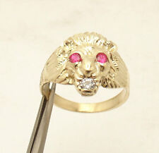 Size 11 Men's 3D Lion Head Ring Ruby Eyes Real Solid 10K Yellow Gold 5.1gr