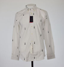 Tommy Hilfiger White Mens Size Large L Button Down Embroidered Shirt 124