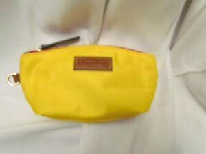 Dooney and Bourke Nylon Cosmetic Pouch PINAPPLE YELLOW Lined 7.5 x 3.5