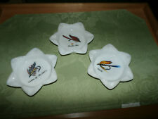 Lot of 3  VINTAGE Milk Glass ASH TRAYs WITH FLY FISHING LURE star shaped