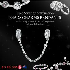 Cubic Zirconia Safety Chain Jewellery 925 Sterling Silver Bracelet Pendant Charm
