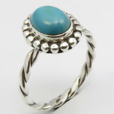 Cab Turquoise Ring Size 8.25 Art Gift 925 Sterling Silver Natural Blue & Green