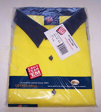 Cant Tear Em Mens Yellow Navy Short Sleeve Cotton Drill Shirt Size 5XL New