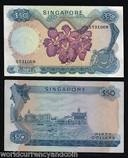 SINGAPORE 50 DOLLARS P5A 1967 ORCHID UNC *WITHOUT SEAL* RARE CURRENCY MONEY NOTE