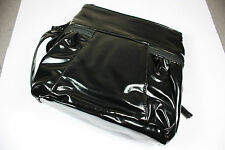 Ladies Shoulder Bag 23x22cm Black Patent Across Body Faux Leather Adjustable NEW