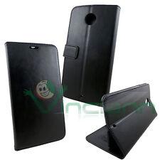 Custodia eco pelle NERA per Motorola Google Nexus 6 flip cover STAND nero