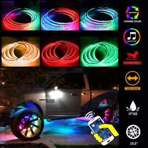 """4x 15.5"""" LED Wheel Ring Lights IP68 Changing RGB+Chasing Color Bluetooth Control"""
