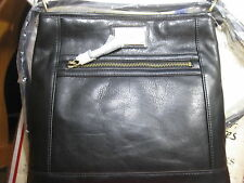 Tignanello Genuine Leather Convertible Function Frenzy Black Shoulder Bag
