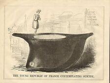 1848 STAMPA ORIGINALE A Cartoni Animati! il giovane Repubblica Francese contemplando suicidio