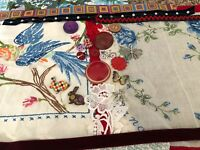 VTG Mix Embroidered Crazy Quilt Fabric Remnants Button LOT Craft Collage Art CQ4