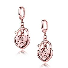 Women Quality Rose Gold Filled Vintage Padlock Design Dangle Chandelier Earring