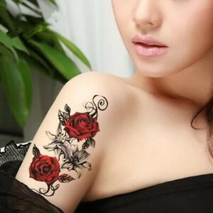 One Temporary Tattoo .sexy roses .Waterproof Ladies, man.removable large. 21x12