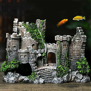AU_ Aquarium Resin Artificial Rockery Mini Castle House Landscaping Decor