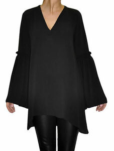 JOHN ZACK BELL SLEEVE  V NECK TOP WITH FRILL EFFECT ON SLEEVE