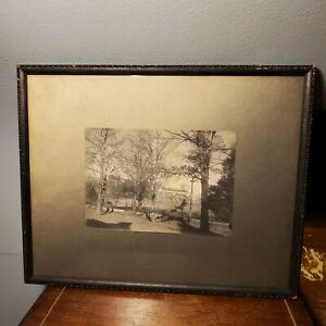 "Antique Park Photo In Black Wood Frame Nusbaum Book &Art Co Norfolk VA 12""x 9.5"""