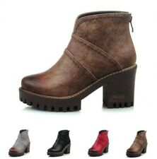 Womens Round Toe Chunky Heel Block Ankle Boots Back Zip Platform Shoes Outdoor D