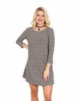 LIVING DOLL ANIMAL PRINT 3/4 SLEEVE DRESS