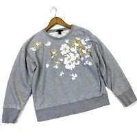 J Crew Embroidered Flower Sweatshirt Sweater Gray Large Style H2092