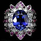 _LDN_ Sublime Bague Saphirs Kashmir/Cachemire bleu 12x9.2 Rubis _Argent 925_T52