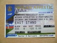 Ticket- 2007 WIGAN ATHLETIC v PORTSMOUTH, Barclays Premiership, 3 Feb