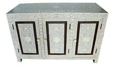 Indian Handmade Bone Inlay Floral Design Chest Of  3 Doors Grey Color