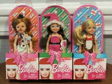 "Lot Of 3 Target Exclusive Barbie ""Christmas"" Kelly & Lil' Friends Dolls Nrfb"