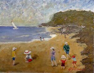 Seascape  landscape impressionist beach summer small Gary Yeomans
