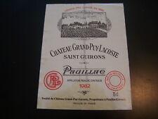 Label chateau grand puy lacoste 1982 saint emilion grand cru wine label