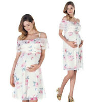 Womens Lady Mother Floral Falbala Pregnant Off Shoulder Dress Maternity Clothes