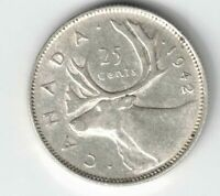 CANADA 1942 25 CENTS QUARTER KING GEORGE VI CANADIAN .800 SILVER COIN